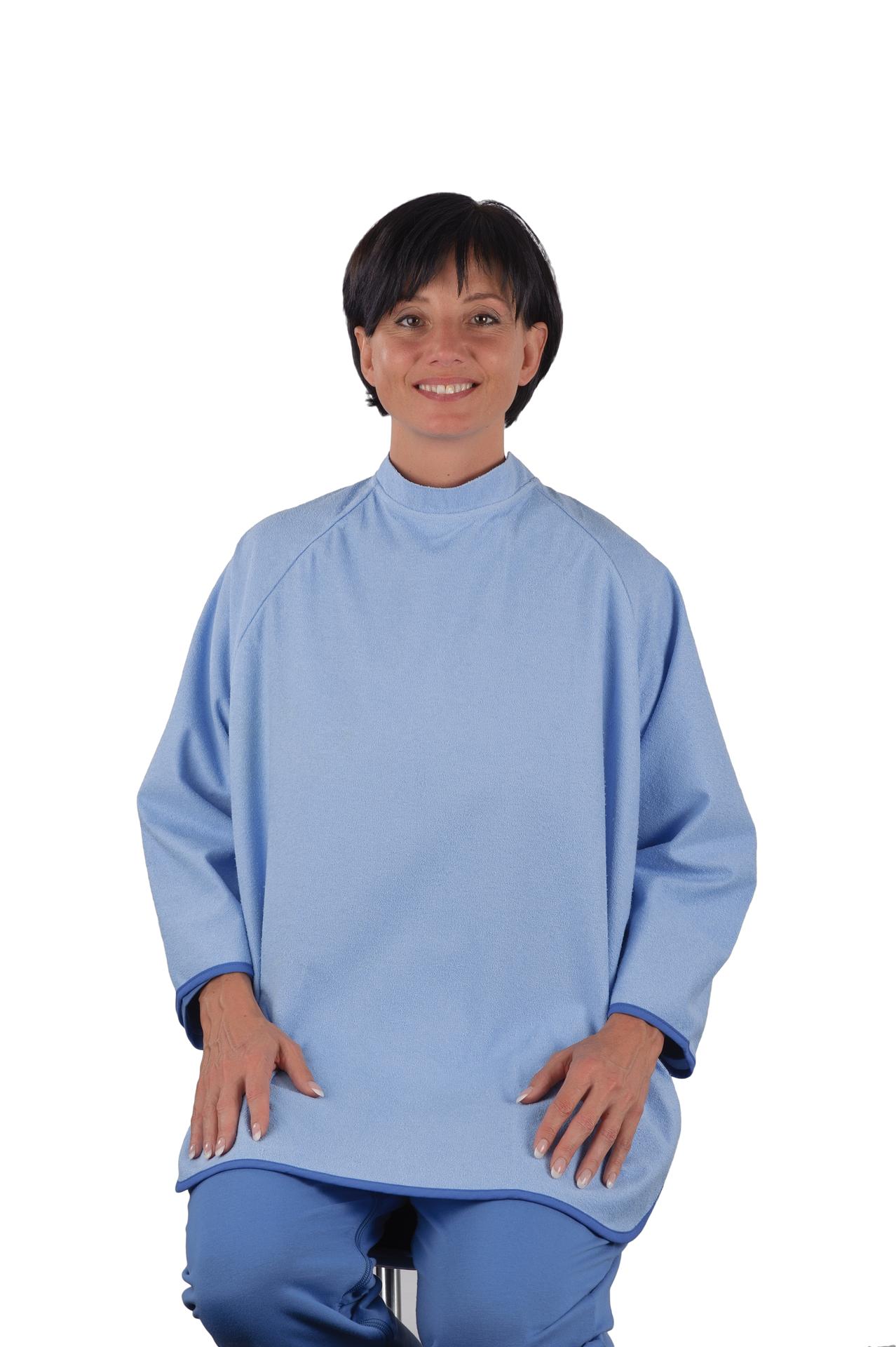 Terry cloth adult bib with loop fastener, light blue | Bibs | Suprima auf En
