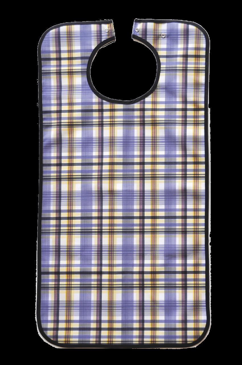 Ess-Schürze Polyester mit Druckknopfverschluss, blau kariert