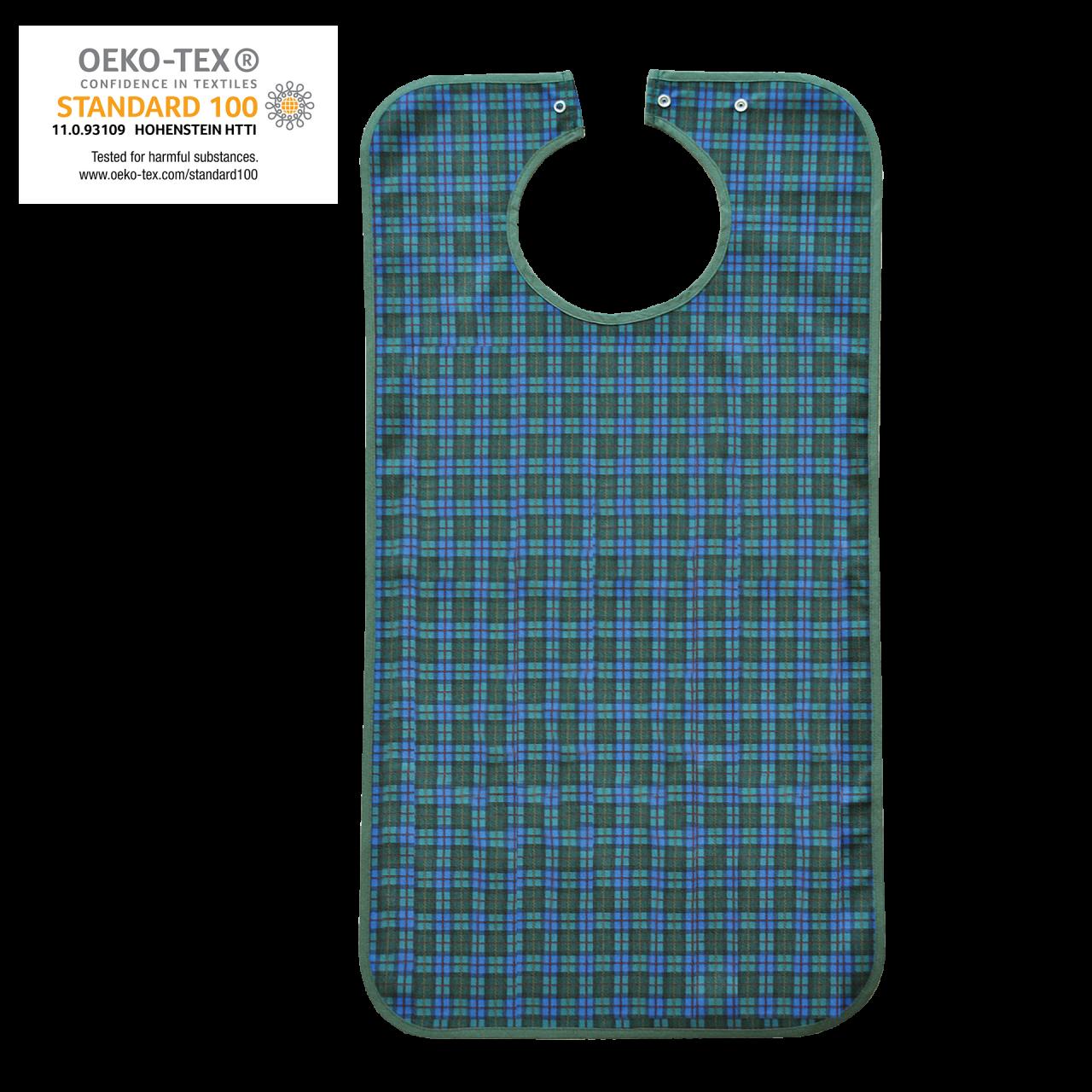 Ess-Schürze Polyester mit Druckknopfverschluss, blaugrün kariert