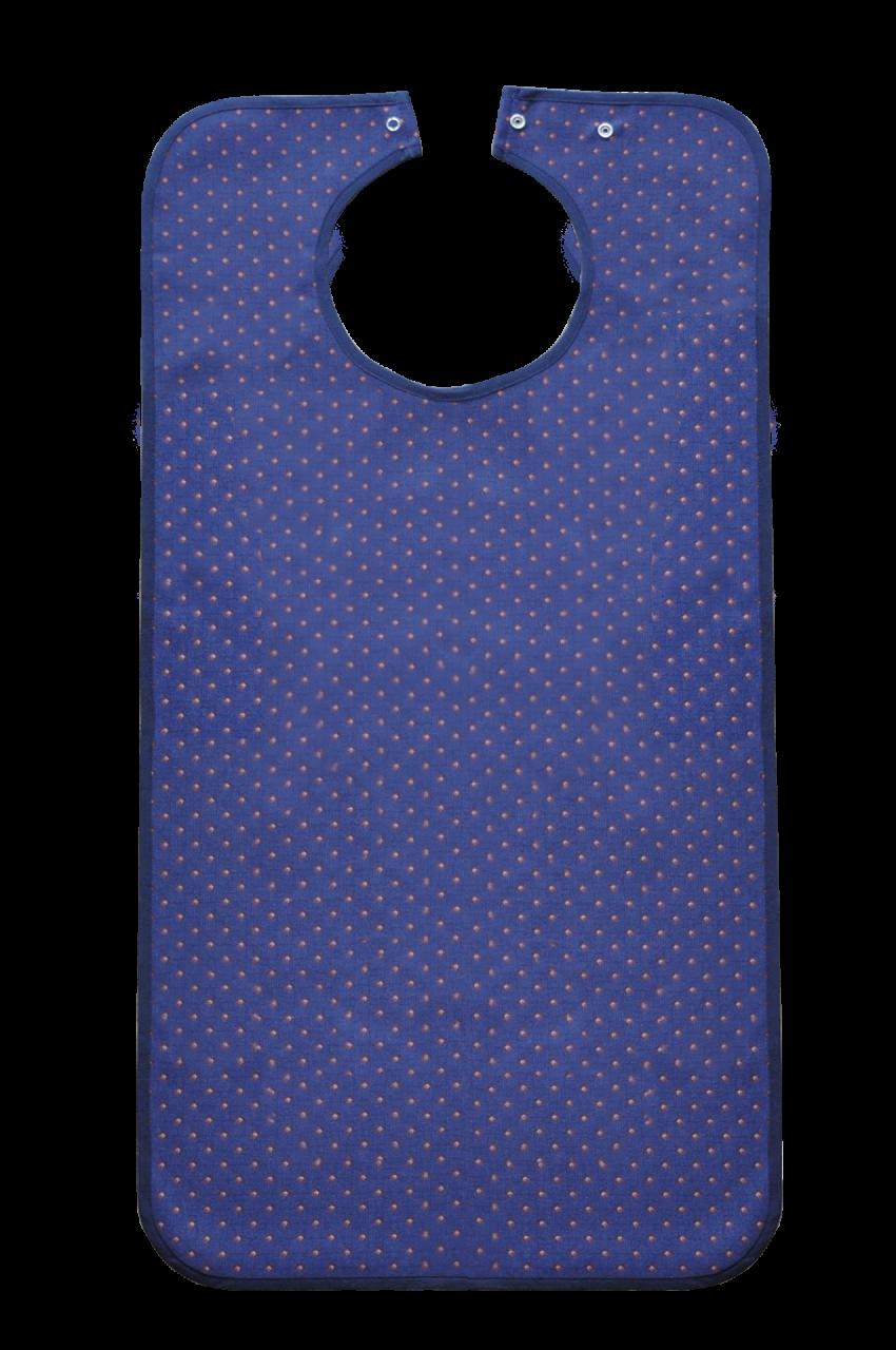 Ess-Schürze Polyester mit Druckknopfverschluss, blau gemustert